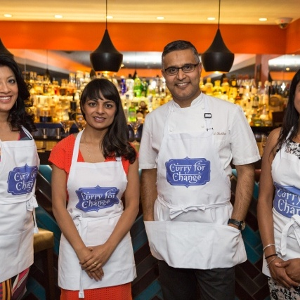 Our Curry for Change ambassadors Mallika, Meera, Atul, and Hari